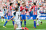 Antoine Griezmann of Atletico Madrid celebrates with Kevin Gameiro during their La Liga match between Atletico Madrid and Deportivo de la Coruna at the Vicente Calderon Stadium on 25 September 2016 in Madrid, Spain. Photo by Diego Gonzalez Souto / Power Sport Images