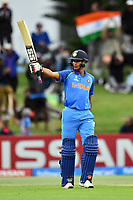 India's opening batsman Manjot Kalra celebrates his fifty during the ICC U-19 Cricket World Cup 2018 Finals between India v Australia, Bay Oval, Tauranga, Saturday 03rd February 2018. Copyright Photo: Raghavan Venugopal / © www.Photosport.nz 2018 © SWpix.com (t/a Photography Hub Ltd)