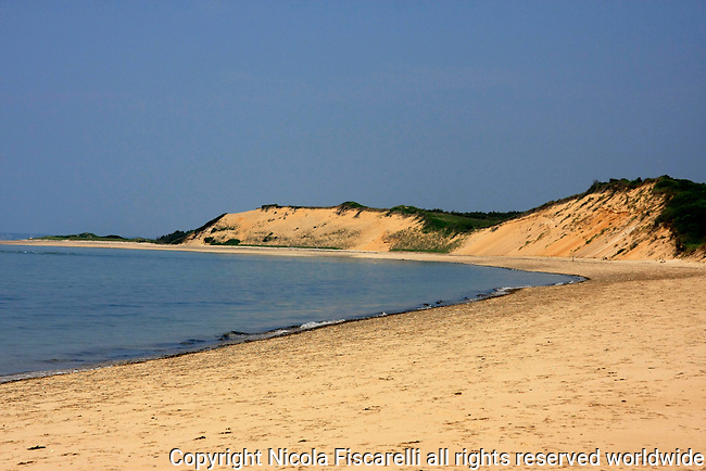The  view of  the pristine coastline of National Seashore Park which is the most treasured cost   in  Cape Cod Massachusetts .