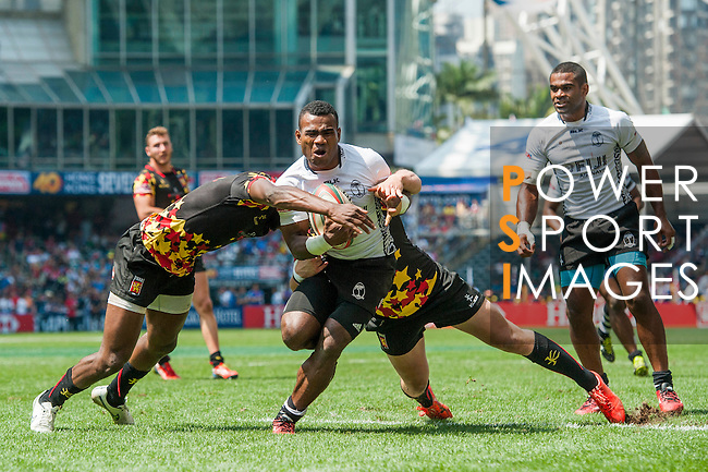 Fiji vs Belgium during the HSBC Sevens Wold Series match as part of the Cathay Pacific / HSBC Hong Kong Sevens at the Hong Kong Stadium on 28 March 2015 in Hong Kong, China. Photo by Xaume Olleros / Power Sport Images