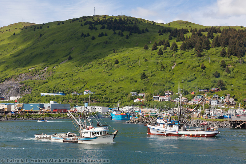 Fishing boats in St Paul harbor in downtown Kodiak, Kodiak Island, Alaska.