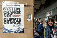 London, England on 15 March 2019: the protest poster outside the Westminster subway during the youth climate strike in London. The protest against climate change and urge the government to take action.The global movement has been inspired by teenage activist Greta Thunberg, who has been skipping school every Friday since August to protest outside the Swedish parliament. Photo Adamo Di Loreto/BunaVista*photo