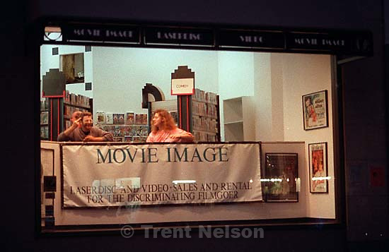 Man in &quot;Movie Image&quot; video store flips me off during riot and protests.<br />