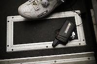 Nicolas Roche's (IRL/SKY) radio on the teambus floor  after 21 stages around Spain<br /> <br /> stage 21: Alcala de Henares - Madrid (98km)<br /> 2015 Vuelta à Espana