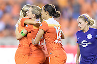 Houston, TX - Saturday Sept. 03, 2016: Melissa Henderson, Kealia Ohai celebrates scoring, Carli Lloyd during a regular season National Women's Soccer League (NWSL) match between the Houston Dash and the Orlando Pride at BBVA Compass Stadium.