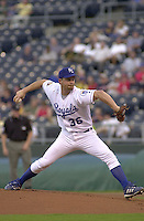 Royals right handed pitcher Paul Byrd pitches against Chicago at Kauffman Stadium in Kansas City, Missouri on August 21, 2001.  The White Sox won 6-1.