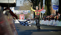 U23 race winner Laurens Sweeck (BEL/Corendon-Kwadro) crossing the finish line<br /> <br /> Azencross Loenhout 2014