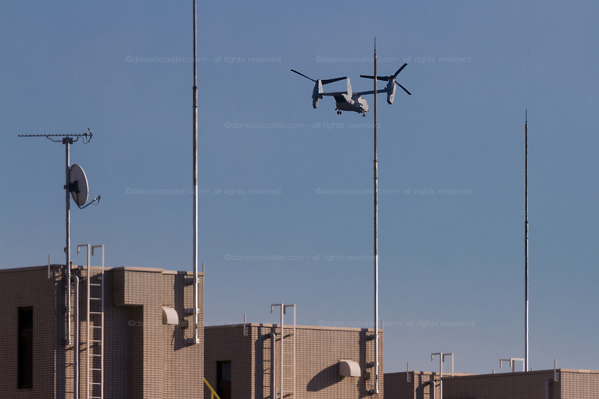Bell Boeing V-22 Osprey operated by the US Marine Corps flying over Chuo Rinkan in Kanagawa, Japan. Tuesday February 13th 2018