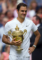 Roger Federer (3) of Switzerland celebrates his victory against Marin Cilic (7) of Croatia in their Gentlemen's Singles Final - Federer def Cilic 6-3, 6-1, 6-4<br /> <br /> Photographer Ashley Western/CameraSport<br /> <br /> Wimbledon Lawn Tennis Championships - Day 13 - Sunday 16th July 2017 -  All England Lawn Tennis and Croquet Club - Wimbledon - London - England<br /> <br /> World Copyright &copy; 2017 CameraSport. All rights reserved. 43 Linden Ave. Countesthorpe. Leicester. England. LE8 5PG - Tel: +44 (0) 116 277 4147 - admin@camerasport.com - www.camerasport.com