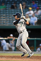 Dayton Dragons shortstop Alex Blandino (2) at bat during a game against the South Bend Silver Hawks on August 20, 2014 at Four Winds Field in South Bend, Indiana.  Dayton defeated South Bend 5-3.  (Mike Janes/Four Seam Images)