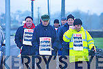 DISPUTE: Milk lorry drivers picketing Kerry Group headquarters in Tralee on Wednesday in protest at voluntary redundancies the company is seeking among drivers.