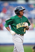 Lynchburg Hillcats center fielder Greg Allen (9) jogs to first base during a game against the Wilmington Blue Rocks on June 3, 2016 at Judy Johnson Field at Daniel S. Frawley Stadium in Wilmington, Delaware.  Lynchburg defeated Wilmington 16-11 in ten innings.  (Mike Janes/Four Seam Images)