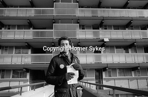 Peter Tatchell electioneering Bermondsey by-election  south London 1983.