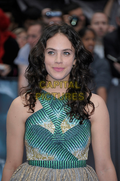 Jessica Brown-Findlay.'Prometheus' world film premiere, Empire cinema, Leicester Square, London, England..31st May 2012.half length beige dress green print gold sleeveless .CAP/PL.©Phil Loftus/Capital Pictures.