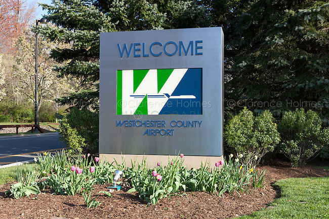 Welcome sign at the entrance to the Westchester County Airport near White Plains, New York