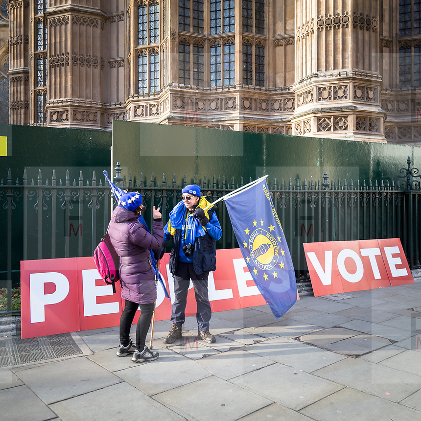 Manifestazione anti Brexity davanti alla sede del Parlamento inglese a Londra.<br /> <br /> An anti-Brexit demonstration outside the Houses of Parliament in London.