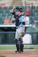 Hickory Crawdads catcher Alex Kowalczyk (22) on defense against the Kannapolis Intimidators in game one of a double-header at Kannapolis Intimidators Stadium on May 19, 2017 in Kannapolis, North Carolina.  The Crawdads defeated the Intimidators 5-4.  (Brian Westerholt/Four Seam Images)