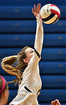 Althoff's Grace Strieker connects with the ball and hits it over. Edwardsville defeated Althoff in a Class 4A volleyball sectional semifinal at O'Fallon HS in O'Fallon, IL on November 4, 2019.<br /> Tim Vizer/Special to STLhighschoolsports.com
