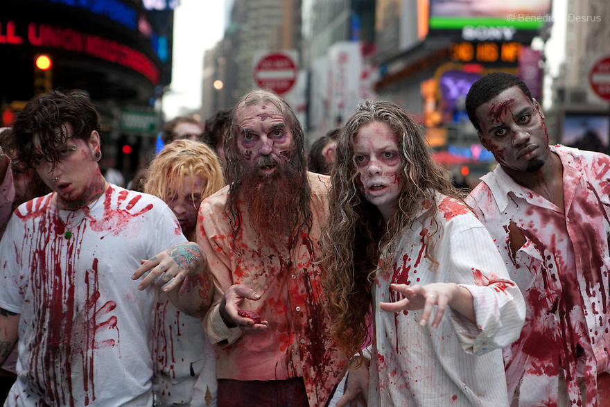 """Tuesday 26 october - New York, United States - Persons costumed as zombies to stage a worldwide zombie invasion in anticipation of the premiere of AMC's new drama series """"the walking dead"""" in New York and other major cities. Photo credit: Benedicte Desrus"""