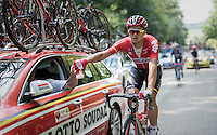 sticky bidon for trainee Michael Goolaerts   (BEL/Lotto-Soudal)<br /> <br /> Brussels Cycling Classic 2016