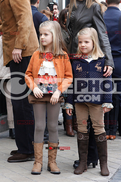 Princess Leonor of Spain and Princess Sofia of Spain visit King Juan Carlos of Spain at Quiron Hospital in Madrid. November 25 , 2012. (ALTERPHOTOS/Caro Marin) /NortePhoto
