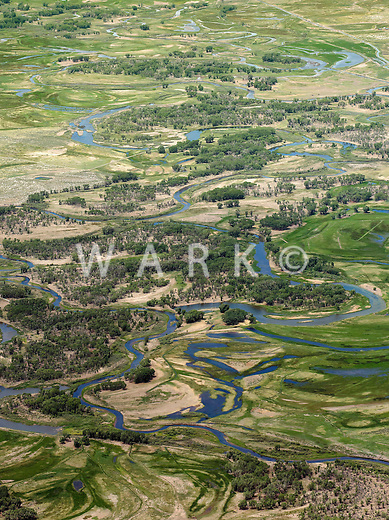 Meandering Rio Grande River south of Alamosa, Colorado. June 2013