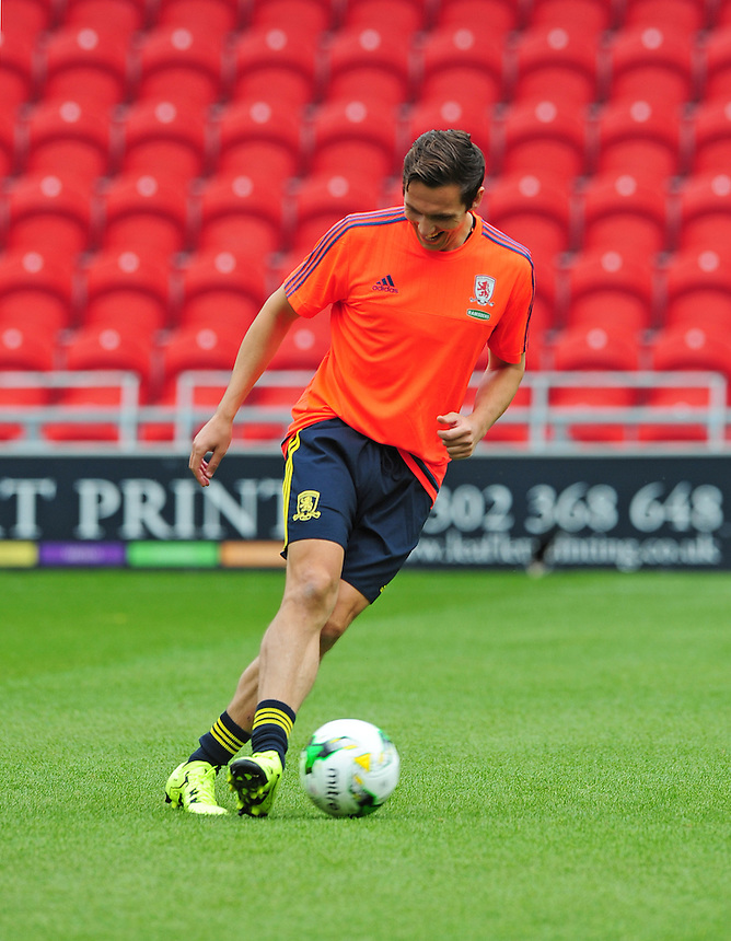 Middlesbrough&rsquo;s Stewart Downing during the pre-match warm-up <br /> <br /> Photographer Chris Vaughan/CameraSport<br /> <br /> Football - Pre-Season Friendly - Doncaster Rovers v Middlesbrough - Saturday 25th July 2015 - Keepmoat Stadium, Doncaster<br /> <br /> &copy; CameraSport - 43 Linden Ave. Countesthorpe. Leicester. England. LE8 5PG - Tel: +44 (0) 116 277 4147 - admin@camerasport.com - www.camerasport.com
