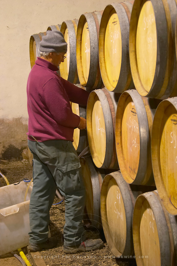Chateau la Condamine Bertrand. Pezenas region. Languedoc. Barrel cellar. France. Europe.