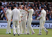 7th September 2017, Lords Cricket Ground, London, England; International Test Match Series, Third Test, Day 1; England versus West Indies; England Bowler Ben Stokes celebrates taking the wicket of West Indies Batsman Roston Chase with Alastair Cook