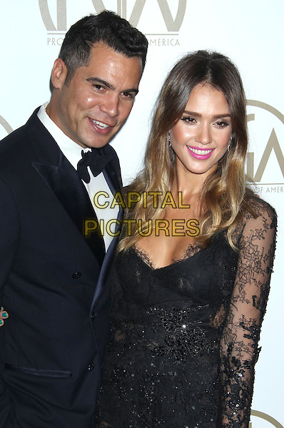 Cash Warren, Jessica Alba.At the 24th Annual Producers Guild Awards held at the Beverly Hilton Hotel, Beverly Hills, California, USA,.26th January 2013..PGAs PGA arrivals half length black tuxedo white shirt bow tie lace dress long sleeve married husband wife  beaded sheer see thru though .CAP/ADM/RE.©Russ Elliot/AdMedia/Capital Pictures.