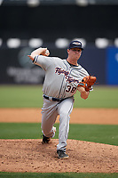Lakeland Flying Tigers relief pitcher Billy Lescher (38) during a Florida State League game against the Tampa Tarpons on April 7, 2019 at George M. Steinbrenner Field in Tampa, Florida.  Tampa defeated Lakeland 3-2.  (Mike Janes/Four Seam Images)