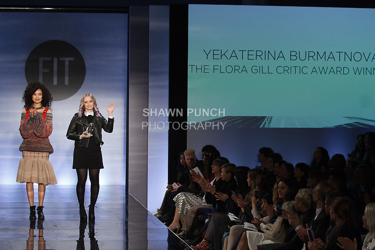 Graduating student Yekaterina Burmatnova, won the Flora Gill Critic Award, during the Future of Fashion 2017 runway show at the Fashion Institute of Technology on May 8, 2017.