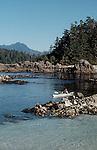 Sea kayaker, Barkley Sound, Broken Islands, Pacific Rim National Park, Vancouver Island, British Columbia, Canada, Clark Island, .