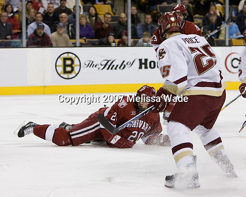 Dylan Reese (Harvard University - Pittsburgh, PA) - The Boston College Eagles defeated the Harvard University Crimson 3-1 in the first round of the 2007 Beanpot Tournament on Monday, February 5, 2007, at the TD Banknorth Garden in Boston, Massachusetts.  The first Beanpot Tournament was played in December 1952 with the scheduling moved to the first two Mondays of February in its sixth year.  The tournament is played between Boston College, Boston University, Harvard University and Northeastern University with the first round matchups alternating each year.