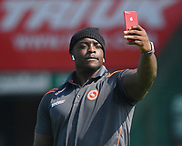Adebayo Akinfenwa of Wycombe Wanderers takes a selfie during Yeovil Town vs Wycombe Wanderers, Sky Bet EFL League 2 Football at Huish Park on 14th April 2018