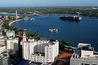 TANZANIA Daressalaam, bay and seaport, PIL container ship sailing to indian ocean, in front protestant Azania Front cathedral, built during german colonial time
