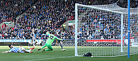 HUDDERSFIELD, ENGLAND - APRIL 06: Leicester City's Jamie Vardy scores his side's second goal past Huddersfield Town's goalkeeper Ben Hamer <br /> <br /> Photographer Stephen White/CameraSport<br /> <br /> The Premier League - Huddersfield Town v Leicester City - Saturday 6th April 2019 - John Smith's Stadium - Huddersfield<br /> <br /> World Copyright © 2019 CameraSport. All rights reserved. 43 Linden Ave. Countesthorpe. Leicester. England. LE8 5PG - Tel: +44 (0) 116 277 4147 - admin@camerasport.com - www.camerasport.com