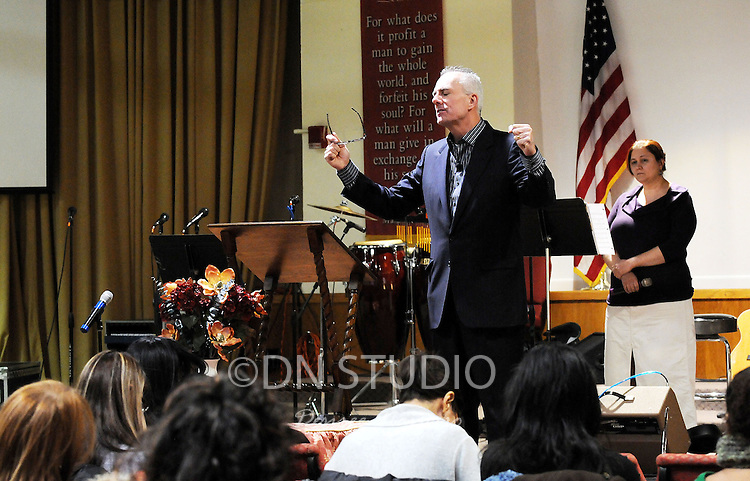 Pastor Bill Devlin during service at Manhattan Bible Church/Iglesia Biblica de Manhattan in Manhattan, New York on Sunday, January 30, 2011.