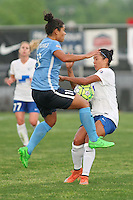 Piscataway, NJ, May 13, 2016. Sky Blue midfielder Raquel Rodriguez (11) collides with Boston Breakers forward Kyah Simon (17). Sky Blue FC defeated the Boston Breakers, 1-0, in a National Women's Soccer League (NWSL) match at Yurcak Field.