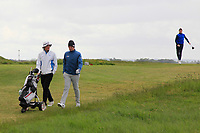 TJ Ford (Co.Sligo) with his caddy and Ronan Mullarney (Galway) jumping in the background heading to the 10th tee during Round 4 of The East of Ireland Amateur Open Championship in Co. Louth Golf Club, Baltray on Monday 3rd June 2019.<br /> <br /> Picture:  Thos Caffrey / www.golffile.ie<br /> <br /> All photos usage must carry mandatory copyright credit (© Golffile | Thos Caffrey)