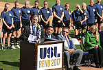 Reno Aces Team President Eric Edelstein speaks at a ceremony announcing the addition of a United Soccer League franchise in Reno, Nev., on Wednesday, Sept. 16, 2015 at the Aces Ballpark. <br /> Photo by Cathleen Allison