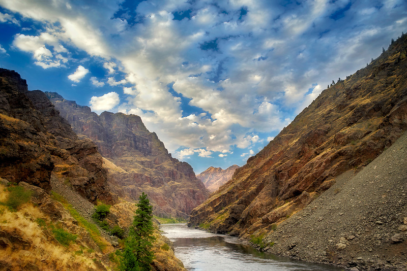 Snake River just below Hell's Canyon Dam with clouds. Hell's Canyon National Recreation Area. Oregon/Idaho
