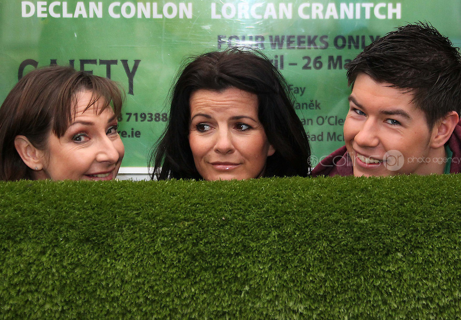 ***NO REPRODUCTION FEE***24/04/12 Cast members, Pauline McLynn, Deirdre O'Kane and Ryan Andrews pictured at the Gaiety Theatre, Dublin this afternoon  to celebrate only one week to go until the world premiere of Fiona Looney's new play 'Greener' which opens at the Gaiety on May 1st and runs until May 26th. Greener features an all star cast of actors known on stage and screen...  Picture Colin Keegan, Collins, Dublin. ***NO REPRODUCTION FEE***