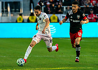 WASHINGTON, DC - MARCH 07: Felipe Martins #18 of DC United chases after Lewis Morgan #7 of Inter Miami during a game between Inter Miami CF and D.C. United at Audi Field on March 07, 2020 in Washington, DC.