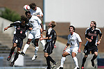 11 September 2005: Nick LaBrocca (8), Marcus Tracy (3), and Wells Thompson (top) challenge for a header. The Wake Forest Demon Deacons defeated the Rutgers Scarlet Knights 5-1 in an NCAA Divison I men's soccer game at Fetzer Field in Chapel Hill, NC.