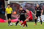 AC Milan Defender Lucas Biglia (L) fights for the ball with Bayern Munich Midfielder James Rodríguez (R) during the 2017 International Champions Cup China  match between FC Bayern and AC Milan at Universiade Sports Centre Stadium on July 22, 2017 in Shenzhen, China. Photo by Marcio Rodrigo Machado / Power Sport Images