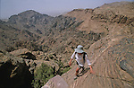 ". Climbing path above the rift on the trek from ""Little Petra"" to El Deir temple. Middle East. Jordan. Petra"