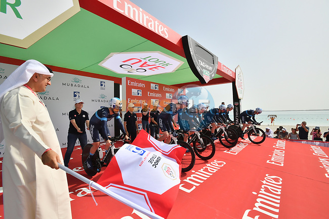 Team Novo Nordisk power off the start ramp of Stage 1 of the 2019 UAE Tour, a team time trial running 16km around Al Hudayriat Island, Abu Dhabi, United Arab Emirates. 24th February 2019.<br /> Picture: LaPresse/Massimo Paolone | Cyclefile<br /> <br /> <br /> All photos usage must carry mandatory copyright credit (© Cyclefile | LaPresse/Massimo Paolone)