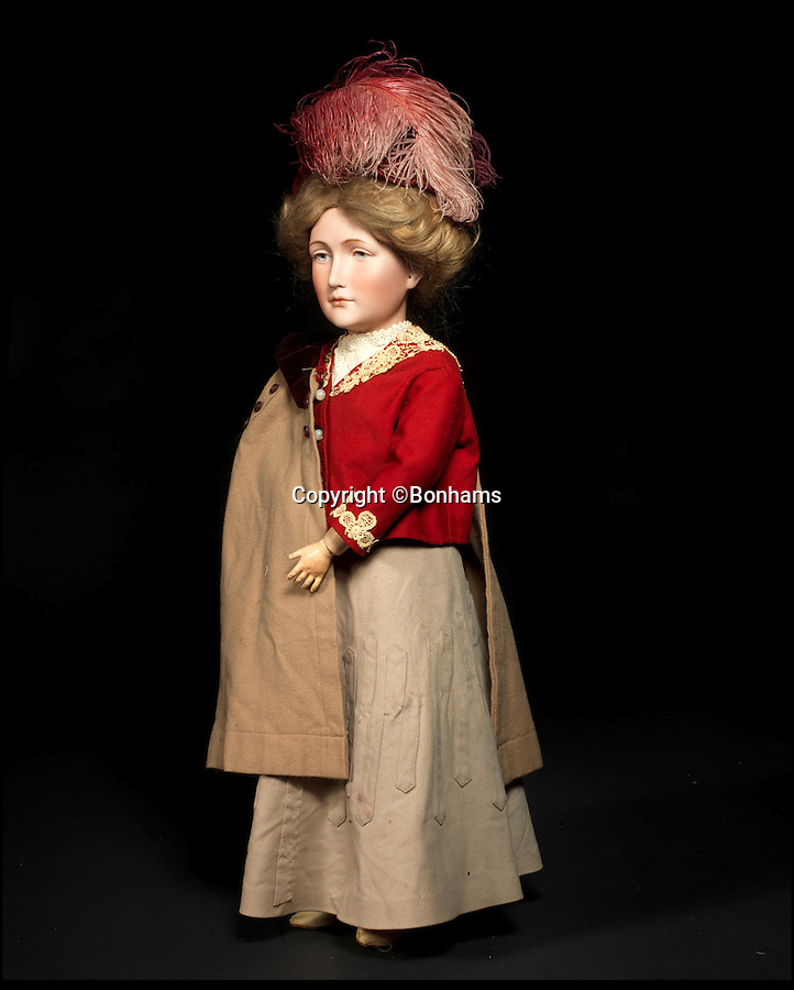 BNPS.co.uk (01202 558833)<br /> Pic: Bonhams/BNPS<br /> <br /> ***Please Use Full Byline***<br /> <br /> Simon & Halbig 152 Bisque Head Lady Doll. <br /> <br /> Well Hello Dolly  - £1million doll collection sells at Bonhams.<br /> <br /> A creepy collection of almost 100 'lifelike' dolls modelled on children has sold for hearly £1million. <br /> <br /> The eerie-looking toys were made in Germany in the early 20th century as dollmakers strived to produce dolls with realistic human features.<br /> <br /> The collection of 92 dolls, which includes some of the rarest ever made, has been pieced together by a European enthusiast over the past 30 years.