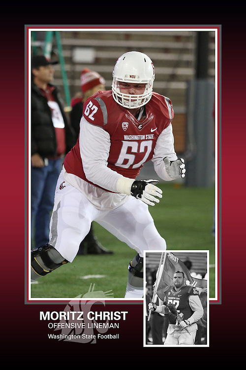 Memorabilia print for Moritz Christ from the 2015 Washington State football season in which the Cougs went 9-4, including a Sun Bowl victory over the Miami Hurricanes.